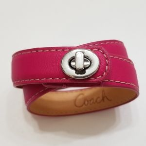 Coach Leather Double Wrap Turnlock Bracelet